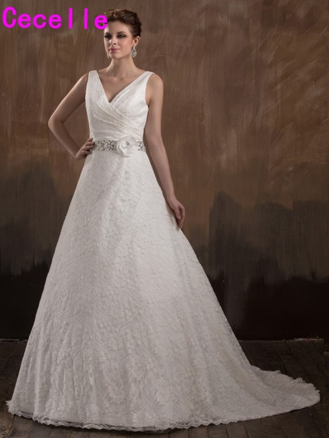 Real Designer A Line Vintage Lace Wedding Dresses With Straps Ivory