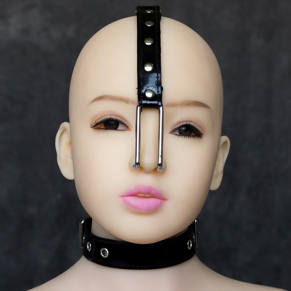 Leather fetish metal nose hook collar head harness headgear bondage restraint adult slave SM sex game toy for women men couples
