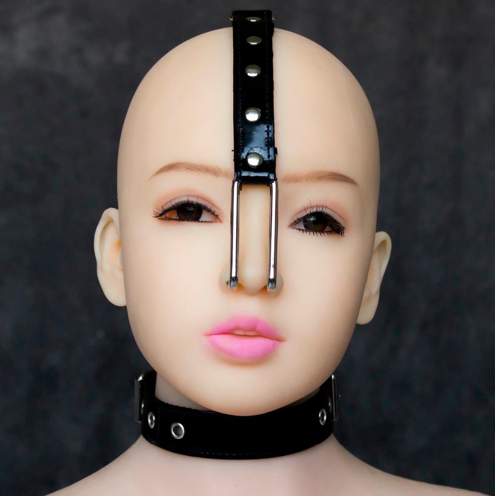 Leather fetish metal nose hook collar head harness headgear bondage restraint adult slave SM sex game toy for women men couples
