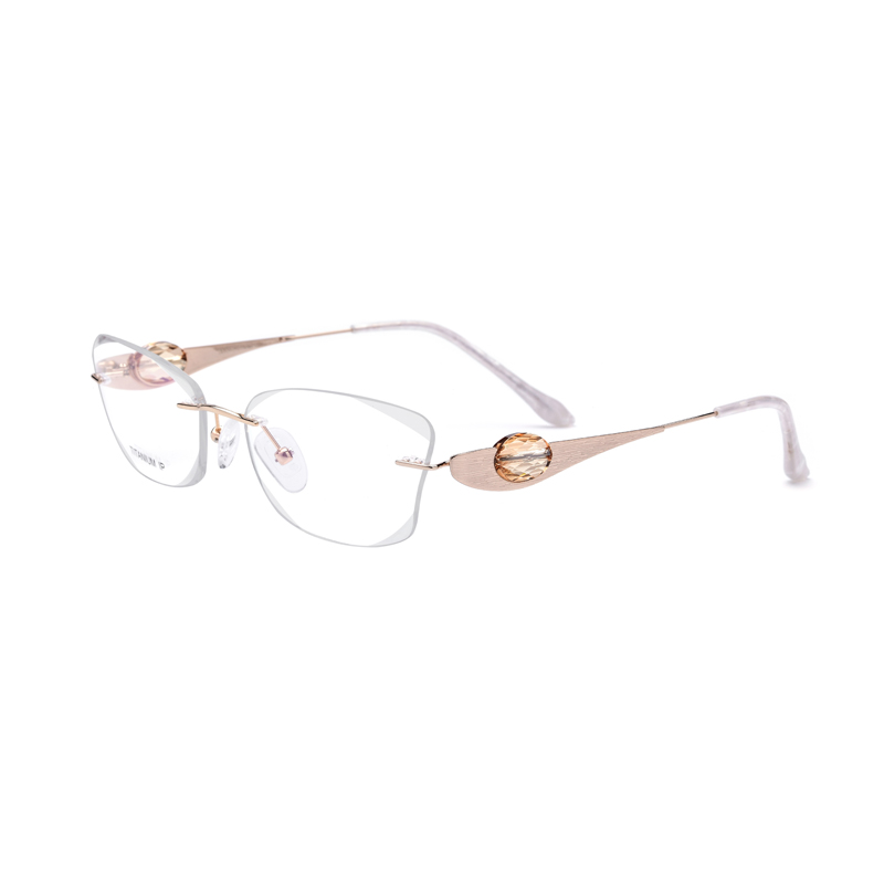 Titanium Gold Women Eyeglasses With Crystal Diamond Clear Lens Glasses The Lenses Can Be Replaced Size
