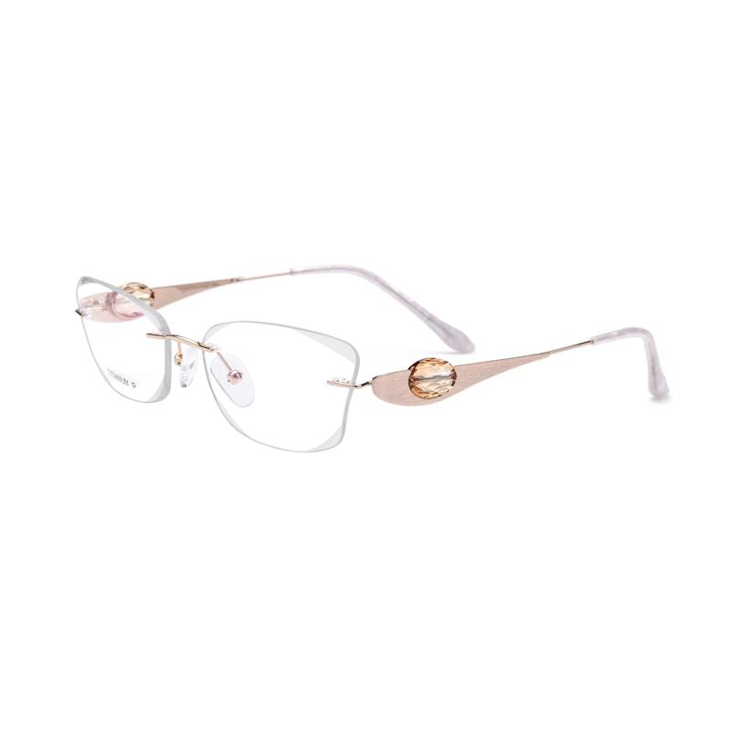 Титан золото Для женщин очки с С кристалалми и стразами прозрачные линзы очков линзы могут быть заменены Размеры 54-17-135mm