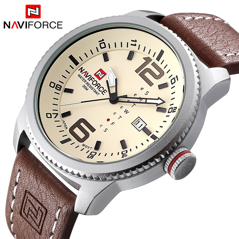 Luxury Brand Military Watch NAVIFORCE Men Quartz Analog Klocka Läder Rem Klocka Man Sport Klockor Army Relogios Masculino