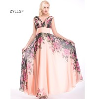 ZYLLGF Formal Wedding Party Pageant Gowns Sheath V Neck Pleat Printed Chiffon Bridesmaid Dresses Corset Back Q32