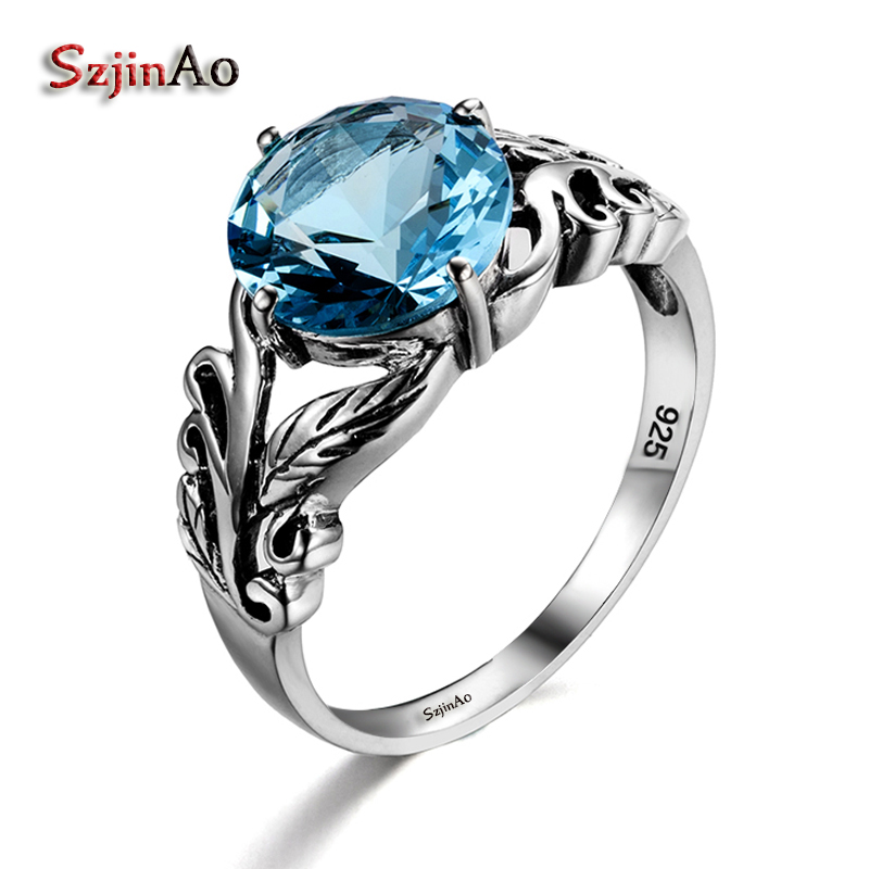 Szjinao Aquamarine 100% 925 Sterling Silver Women Retro Pretty Engagement Ring Plant Leaf Victoria Carter Love Jewelry Clamor