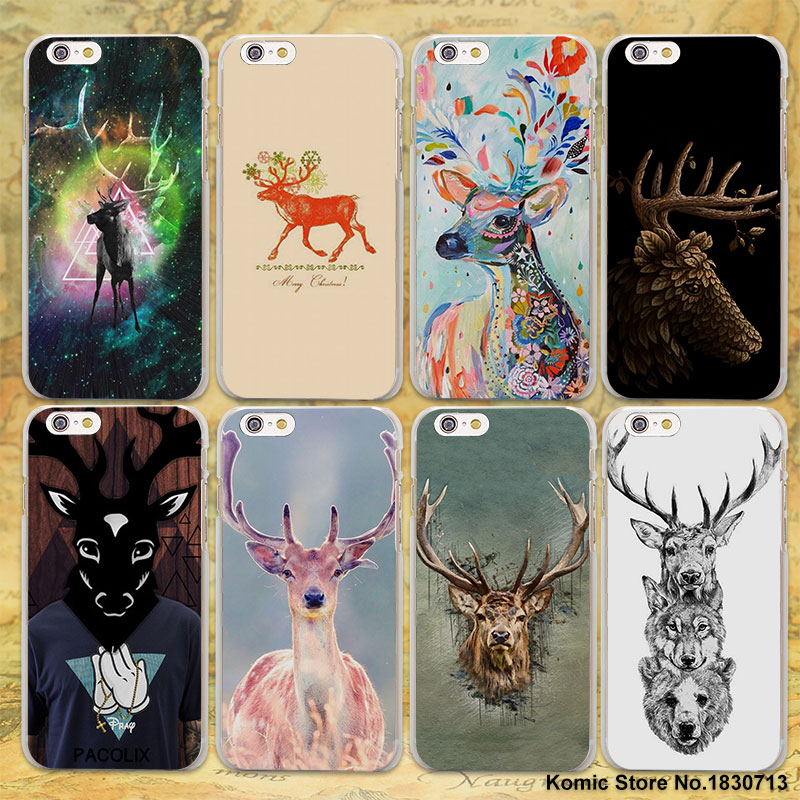 Colorful Deer Crystal Diamond Animal painting hard clear Cases cover for Apple iPhone 7 6 6s Plus SE 4s 5 5s 5c plastic phone ca ...