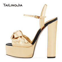 Gold Patent Leather Platforms for Women Knotted High Heel Sandals Silver Supper High Dress Heels Ladies Chunky Heel Summer Shoes summer new sandals chunky heel floral silver wedding dress shoes rhinestone luxurious genuine leather prom party high heels