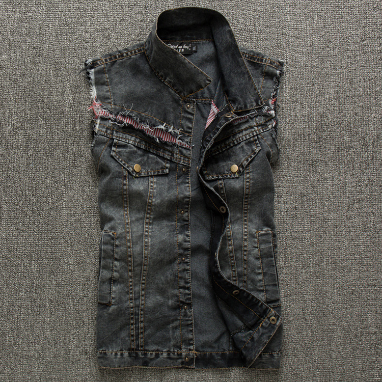 ad66dc4c4c221 Free Shipping 2015 Summer and Spring new Mens Denim Vest cotton stretch  Black Jean vest Men Casual colete masculino