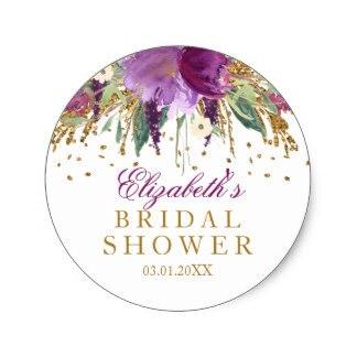 38cm floral glitter amethyst bridal shower sticker