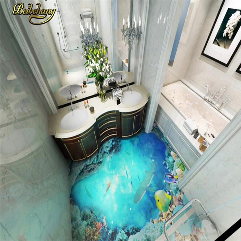 beibehang Custom ocean Floor Wallpaper papel de parede 3D Mural Living Room Bathroom Self-adhesive Waterproof mural Wall paper  beibehang summer beach floor floor murals wall stickers 3d wallpaper for living room pvc floor self adhesive papel de parede 3d