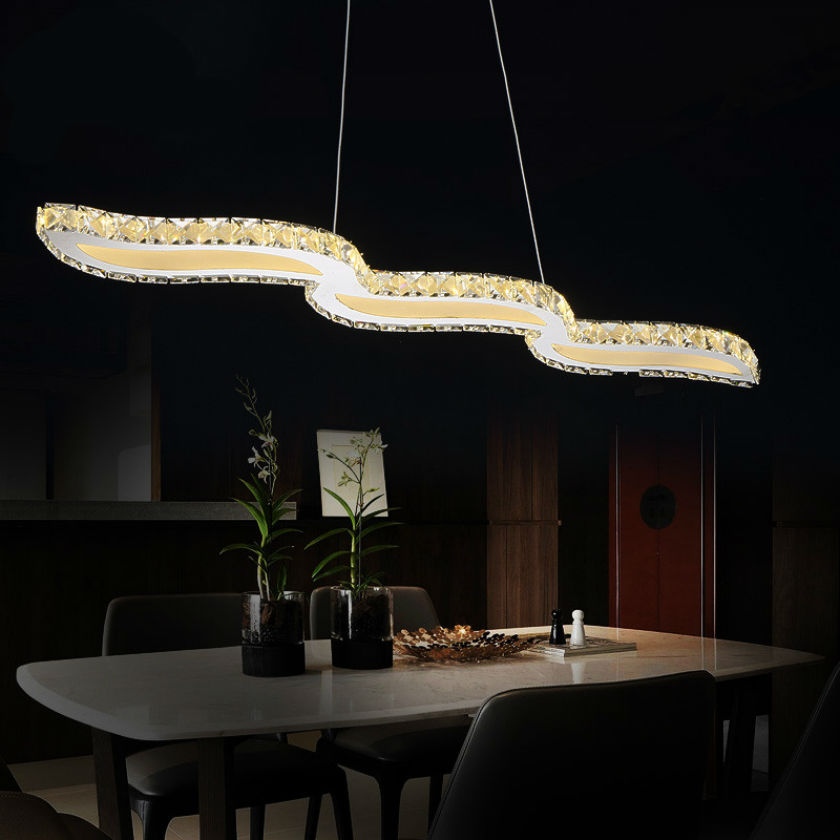 Hot selling Crystal wavy LED Pendant Lights lustre Modern ...