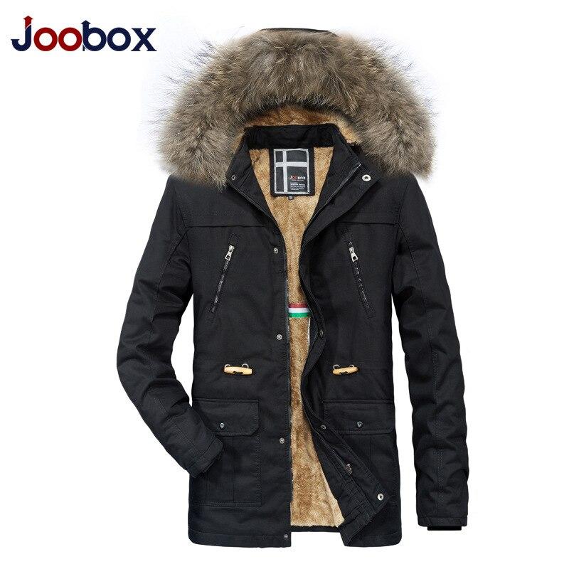 JOOBOX Novo Inverno Homens Jaqueta Parka preta Gola de Pele Com Capuz Inverno Quente Casaco Corta vento Outwear 100% Algodão Jaqueta Masculina