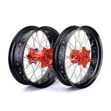 BIKINGBOY For KTM EXC-F 350 EXC-F350 16 2016 17*3.5 17*5.0 Supermoto 36 Spokes MX Complete Full Set Front Rear Wheel Rims Hubs