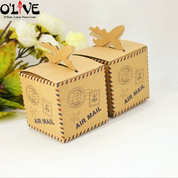 50 Uds papel Kraft clásico avión dulces en caja de regalo favores de la boda Paquete de fiesta cumpleaños cajas de cartón grageas de chocolate correo aéreo