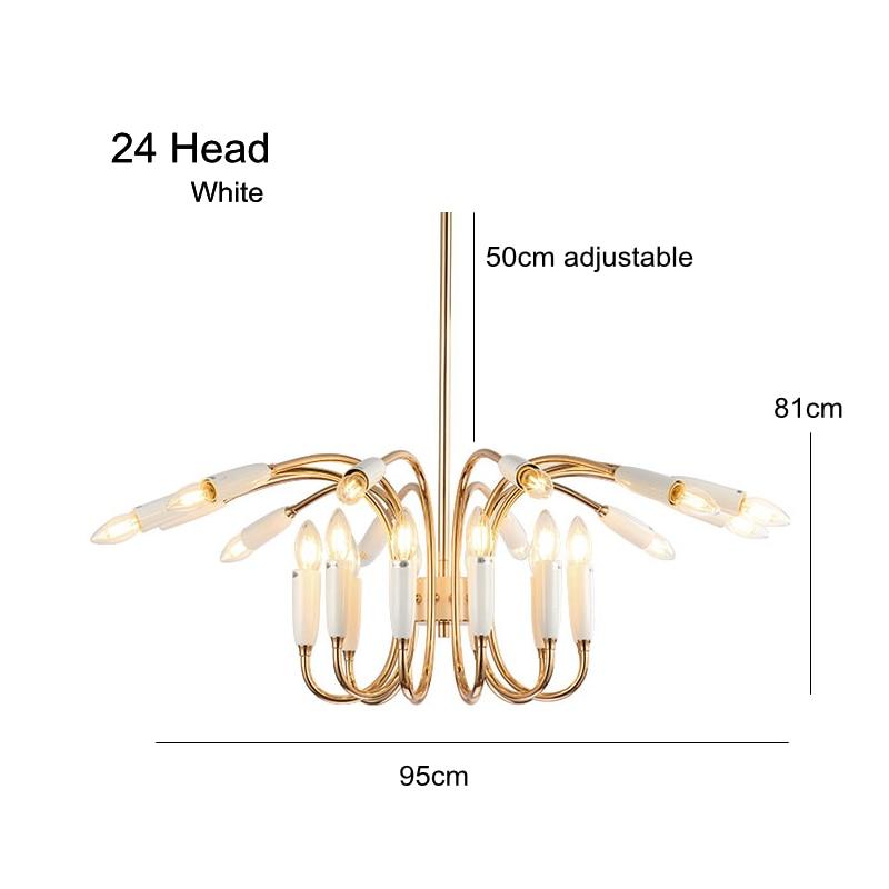 24 Head Modern Chandelier Lamp Hanging Light Suspension Lamp black white gold body Living Room Light Dining Light Art Decotation