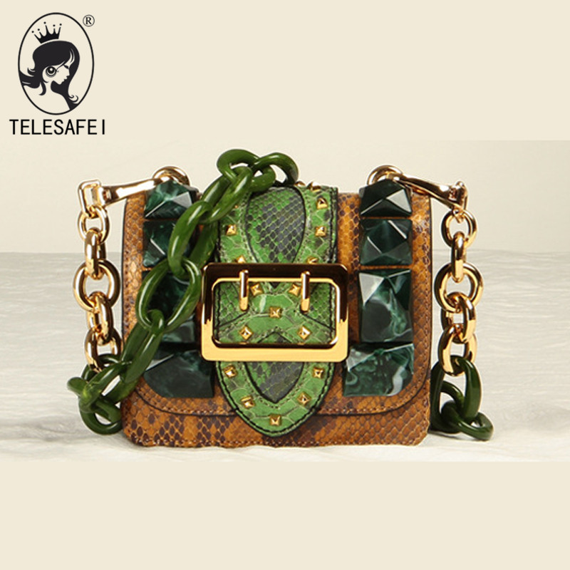 genuine leather bag small Catwalk Fashion snake leather handbag Mini retro women 2018 designer rivet chain shoulder bag genuine leather studded satchel bag women s 2016 saffiano cute small metal rivet trapeze shoulder crossbody bag handbag
