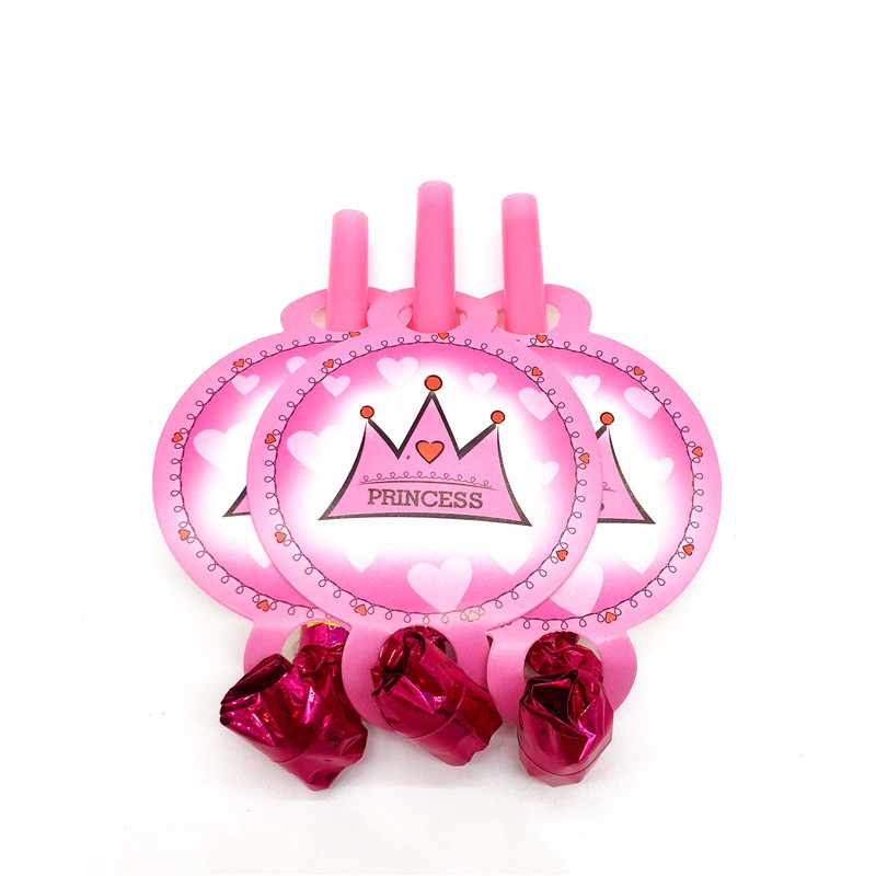Princess Pink Crown 6pcs/lot Happy Birthday Party Baby Shower Toys Blow Out Decoration K ...