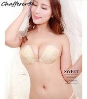 Small Chest Padded Breathable Seamless Invisible Silicone Bra Girl Lace Embroidered Sexy Bra Women Strapless Backless