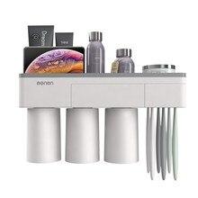 Multifunctional Cup Toothbrush Phone Storage Rack Bathroom Accessory Makeup Organizers Holder Staple-free