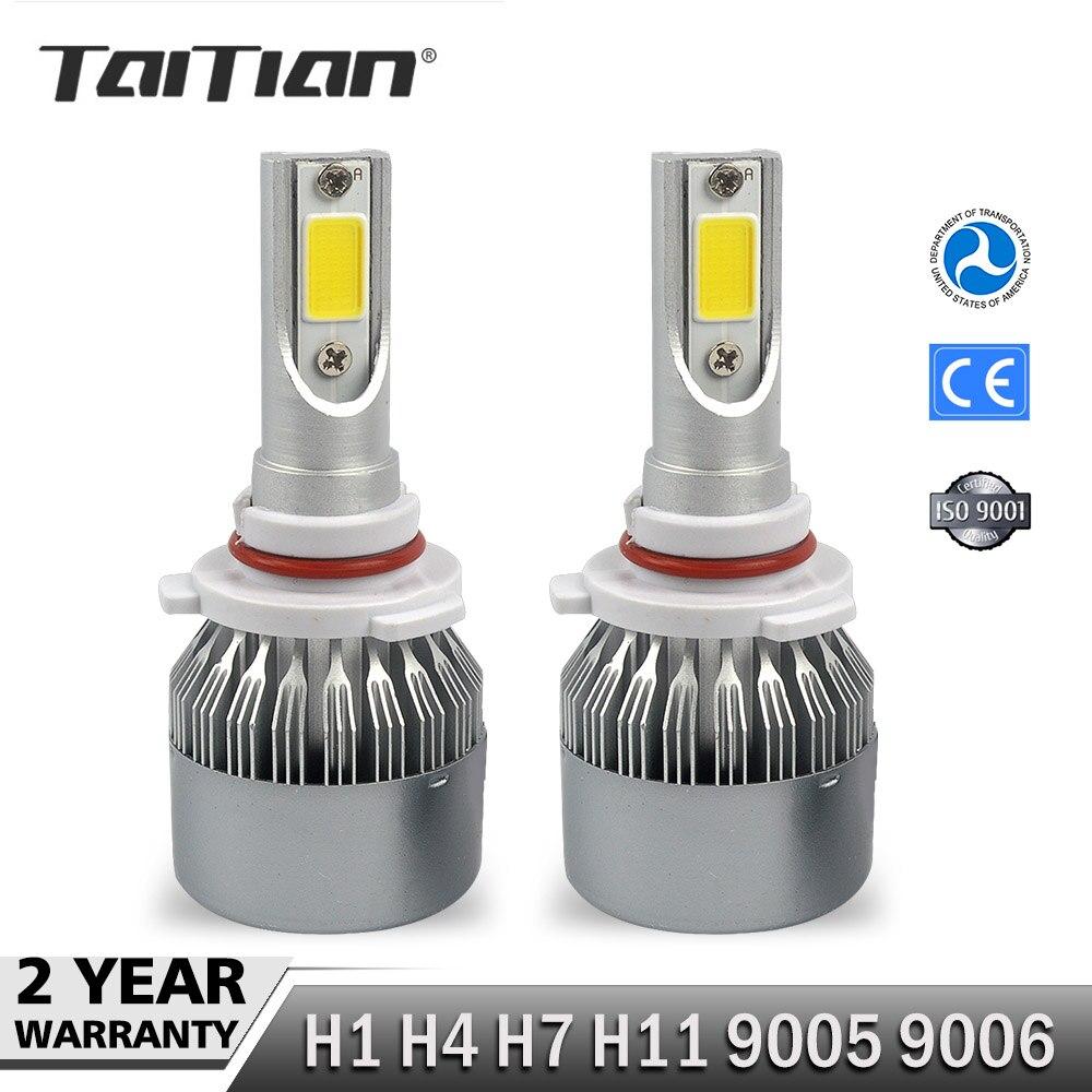 Taitian 2 шт. COB 12 В 72 Вт 7600LM 6000 К Canbus h7 светодио дный фары комплект H1 H4 Здравствуйте lo H11 светодио дный лампы 9005 HB3 9006 HB4 лампы для audi a4