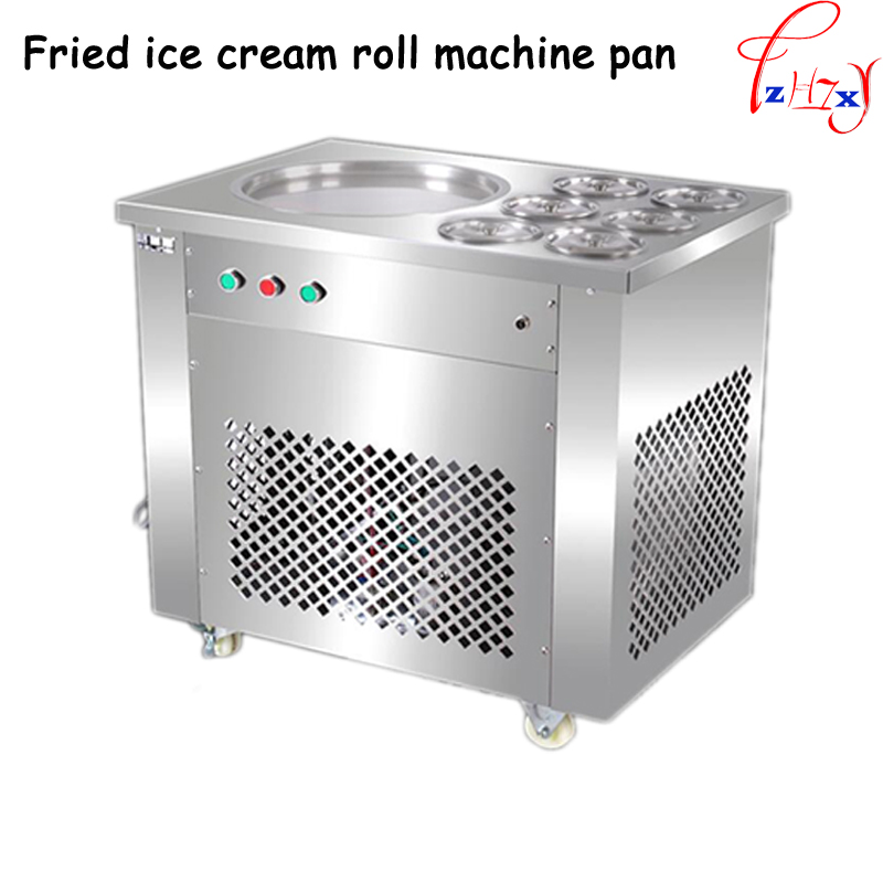 Full Stainless steel One Pan Fried ice cream roll machine ice pan Fry flat ice cream maker yoghourt fried ice cream machine 1pc square pan rolled fried ice cream making machine snack machinery