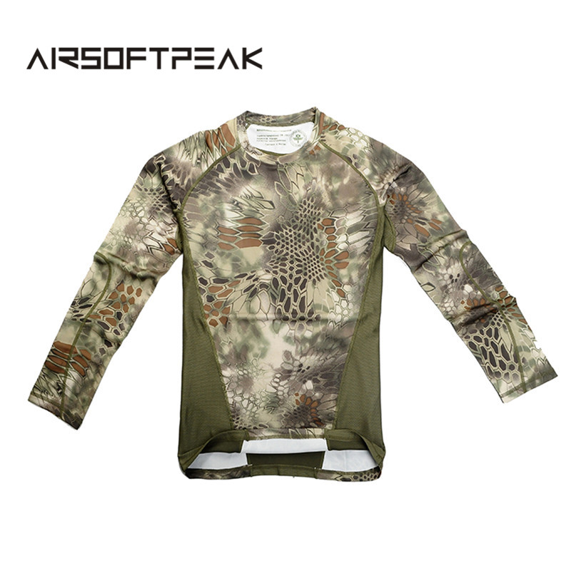 Camouflage T-shirts Army Combat Tactical Quick Dry Shirt Military Men Long Sleeve T-Shirt Hunting Hiking Outdoor Sports Shirts