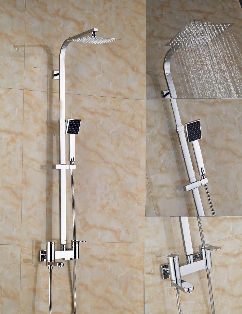 Wholesale And Retail Polished Chrome 8 Square Rain Shower Head Faucet Tub Spout Hand Shower Sprayer Shower Column