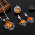 HENSEN Unique Design Turkish Jewellery Set Antique Silver Plated Black Crystal And Faux Amber Vintage Jewelry Sets For Women