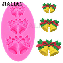 Hot Free shipping 3 Christmas bells chocolate Candy Cookie cake decorating tools DIY baking fondant silicone mold FT-469