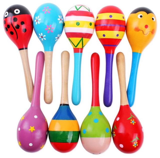 colorful small wooden sand hammer bell maracas baby child musical