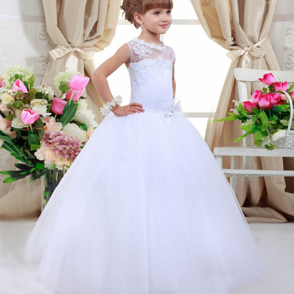 Christmas Lace Up Flower Girl Dresses Sleeveless Hollow Back Floor Length Appliques Little Princess New Year Ball Gowns 2017 New