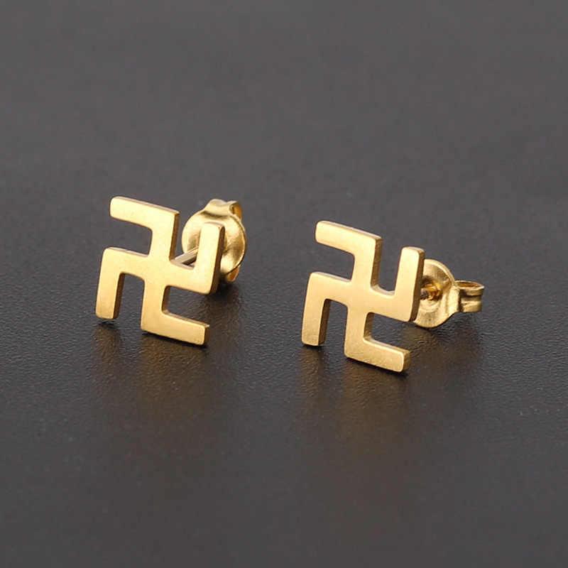 Budismo símbolo de la paz esvástica SS pendientes Color oro plata joyería jainismo hinduismo regalos de La Fortuna Dropshipping pendientes de oreja