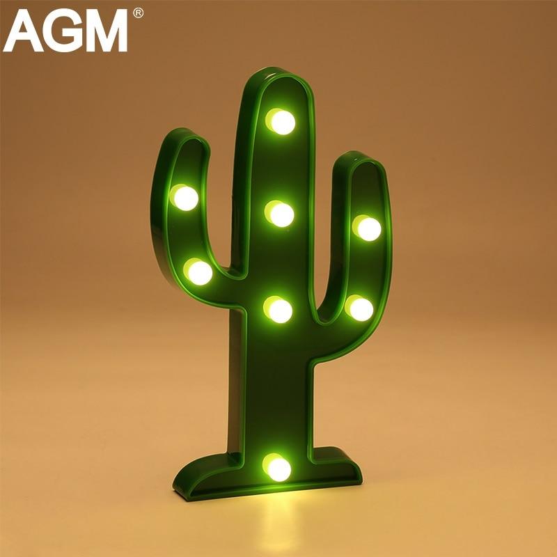 AGM свет в ночь кактус 3D лампы Luminaria шатер письмо стоя новизна огни для детей сувениры Рождество украшения