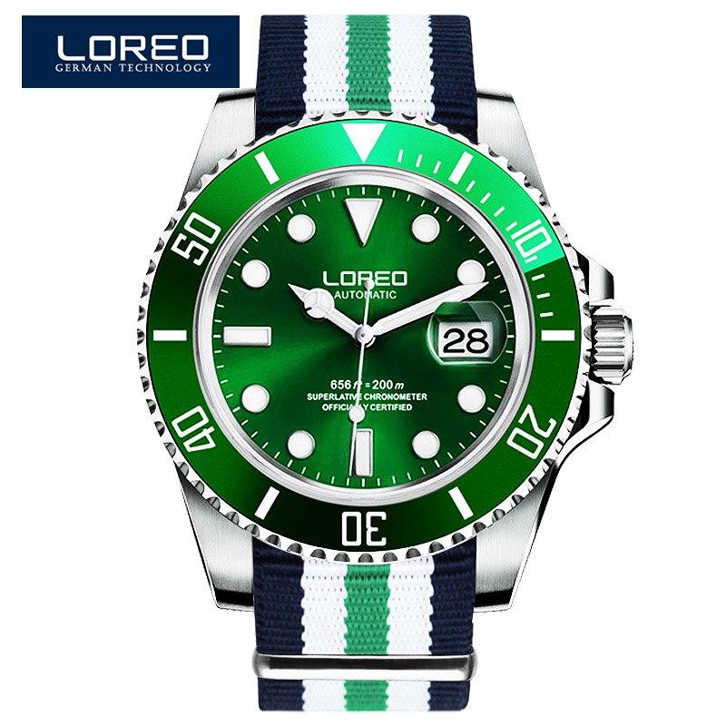 Relojes mecánicos automáticos de deportes al aire libre de moda para hombre LOREO reloj militar de 200 M impermeable para hombre-in Relojes deportivos from Relojes de pulsera    1