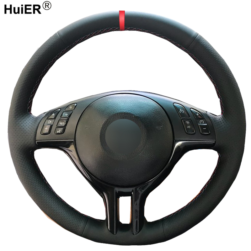 HuiER Hand Sewing Car Steering Wheel Cover For BMW E39 E46 325i E53 X5 Braid On The Steering-Wheel Non-slip Car Accessories