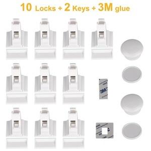 Image 2 - 10ロック2キー磁気食器棚ロック安全ベビーキャビネットロック子供保護子供の引き出しロッカーチャイルドプルーフロック