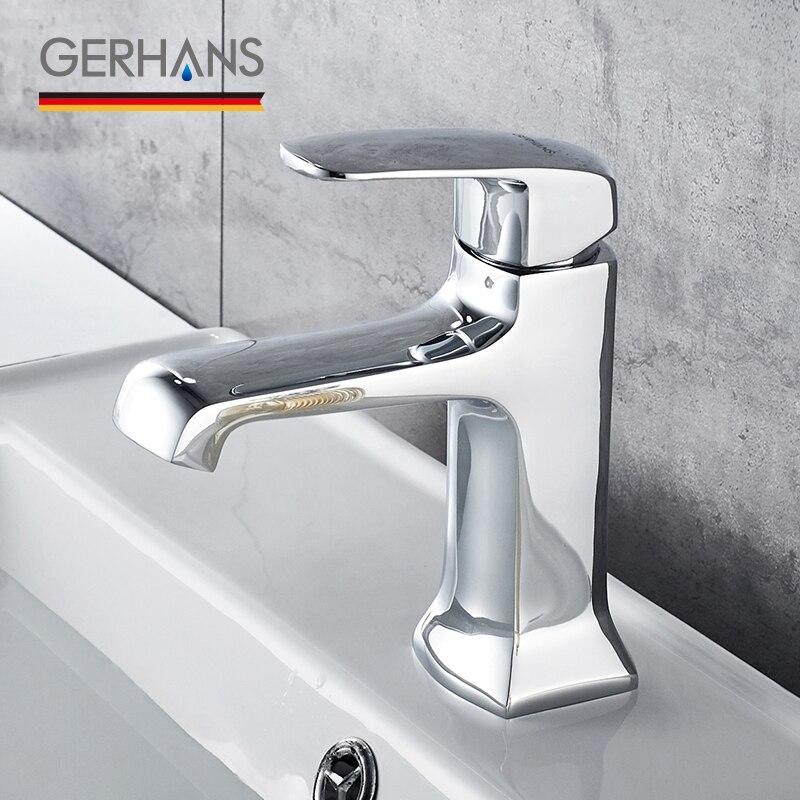 GERHANS Leocube robinet de salle de bain moderne unique de haute qualité robinet de lavabo classique évier mélangeur grue, Chrome K11006
