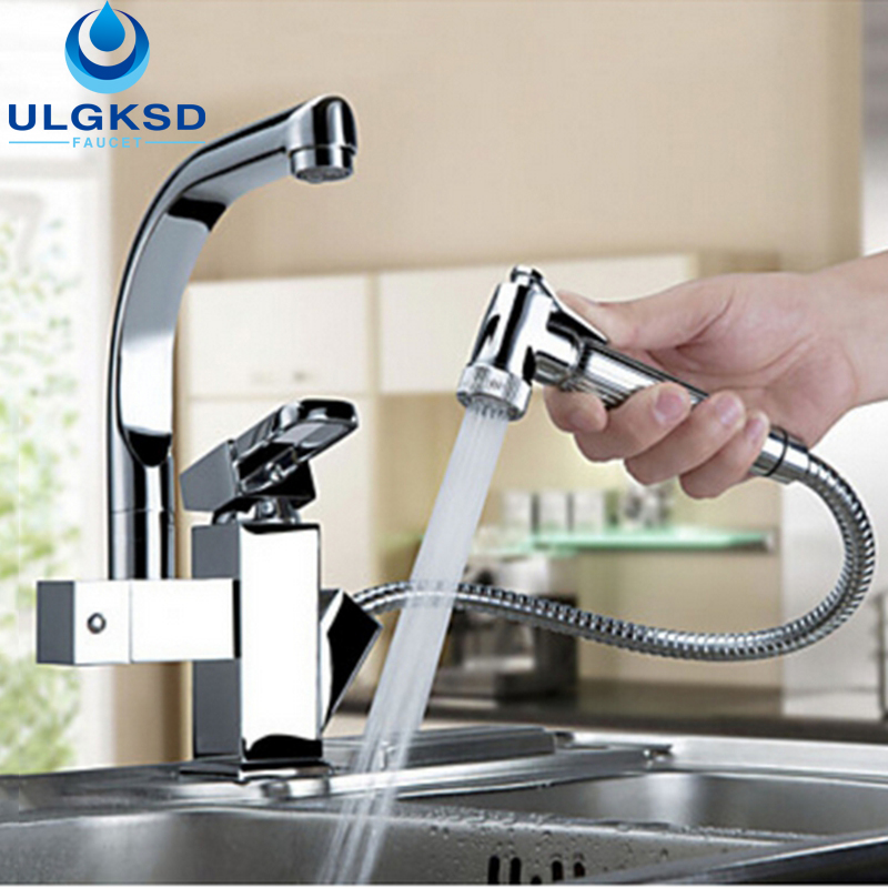 Ulgksd Chrome Brass Kitchen Faucet Pull Out Sprayer Vessel Bar Sink Faucet Single Handle Hole Mixer Tap new pull out sprayer kitchen faucet swivel spout vessel sink mixer tap single handle hole hot and cold