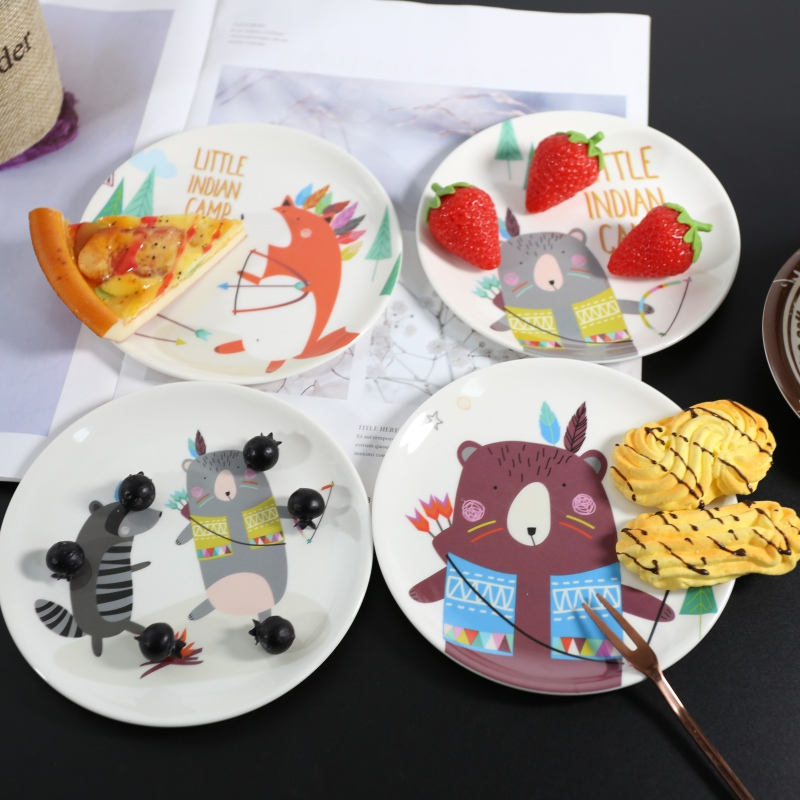 Melamine Cartoon Dinner Plates Imitation Porcelain Tableware Dessert Dish Child Breakfast  Plate Kitchen Accessories