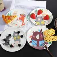 Melamine Cartoon Dinner Plates Imitation Porcelain Tableware Dessert Dish Child Breakfast Plate Kitchen Accessories