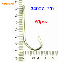 Lot 50pcs 34007 Size 7/0 Stainless Steel Ocean Big Fishing Hooks Sharpened O'Shaughnessy Offshore Fishhooks Tackle