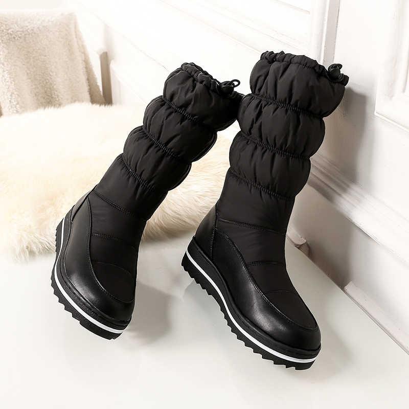 Kadın Kış Kar Botları hakiki deri uzun kış platformu düz çizmeler kadın diz Çizmeler üzerinde 2019 kadınlar için kalın kürk botları