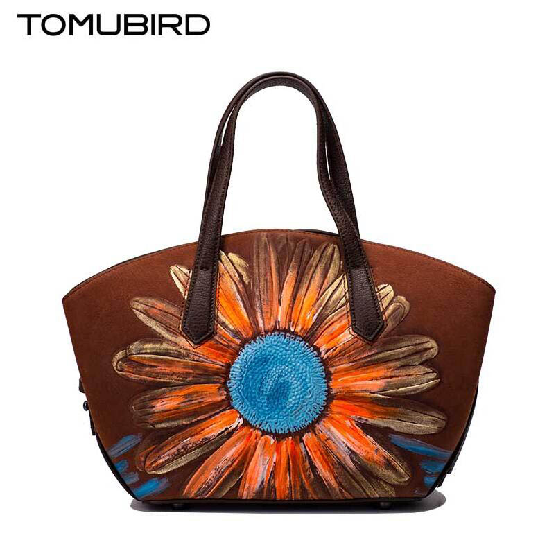 Tomubird(Tomubird)  National wind retro leather handbags Chinese style painted handbag Sunflower hand bag original national wind leather ladies handbag 2017 spring of the new chinese wind hand bag woman women s handbags