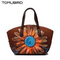 Tomubird Tomubird National Wind Retro Leather Handbags Chinese Style Painted Handbag Sunflower Hand Bag