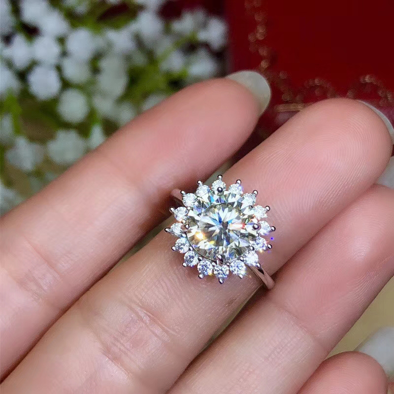 CoLife Jewelry Moissanite Ring for Engagement 1ct to 3ct D Color VVS1 Grade Moissanite Silver Ring 925 Silver Moissanite Jewelry
