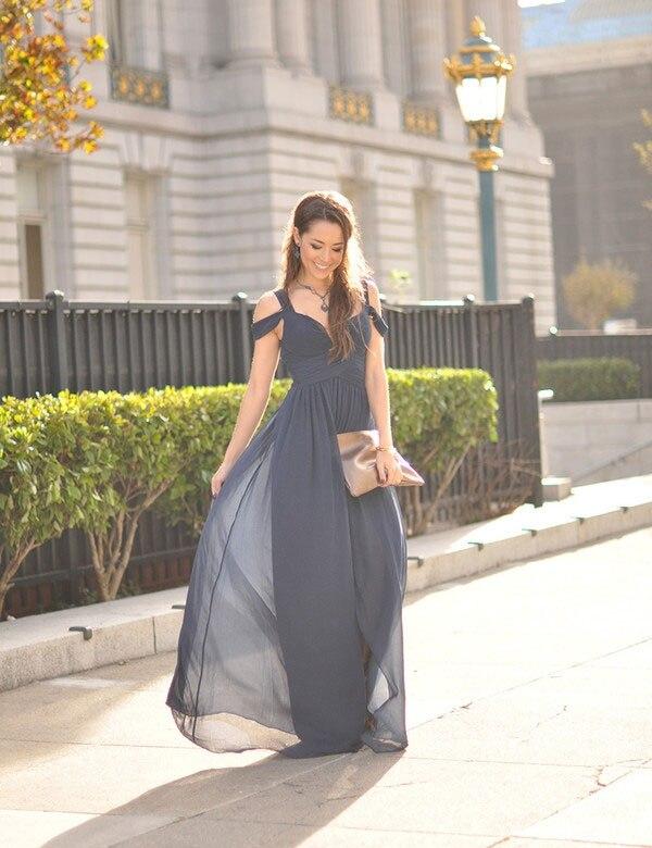 Gray 2019 Cheap Bridesmaid Dresses Under 50 A-line V-neck Chiffon Long Wedding Party Dresses For Women