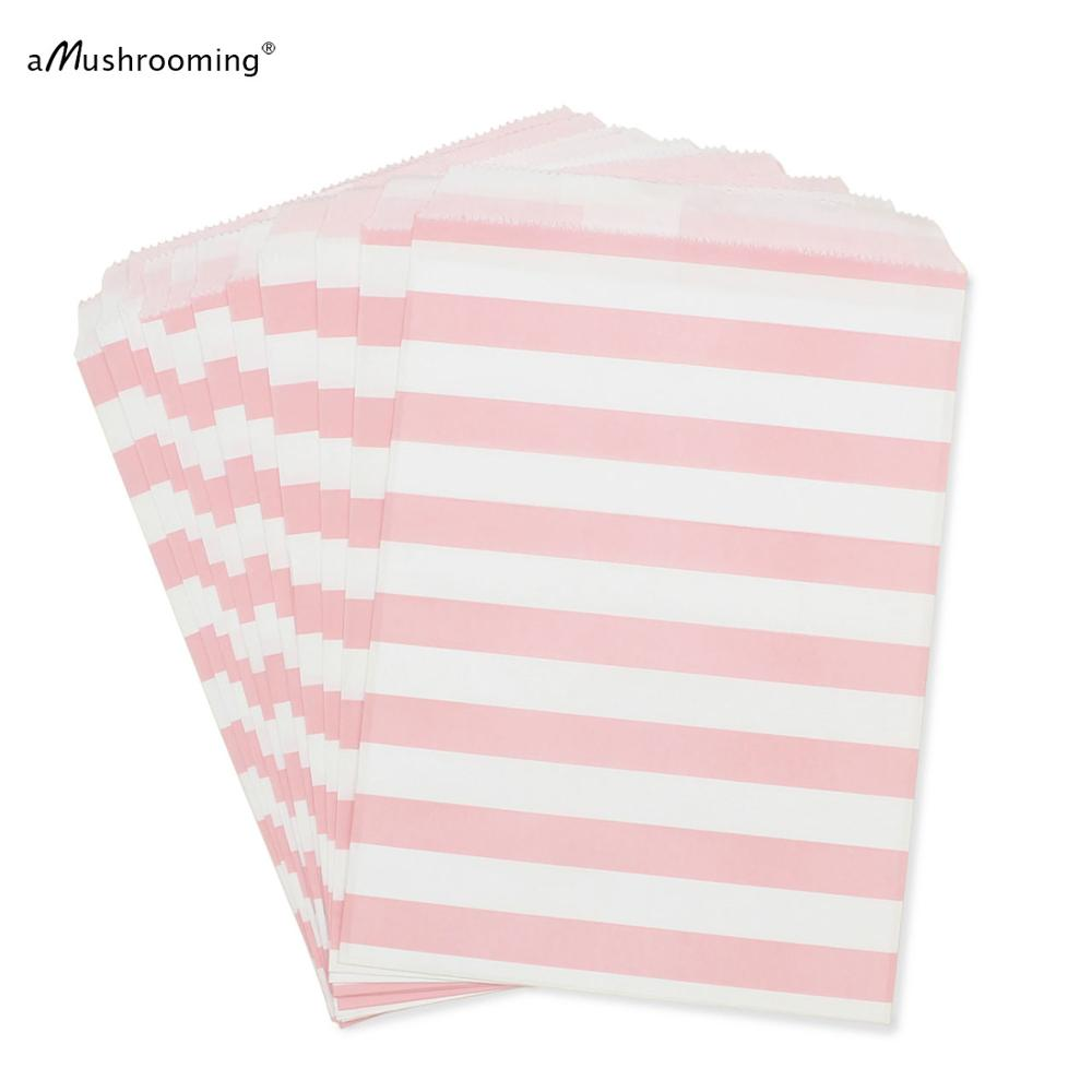 Light Pink Party Favor Bags 5x7 PINK Paper Treat Bags Candy Buffet ...