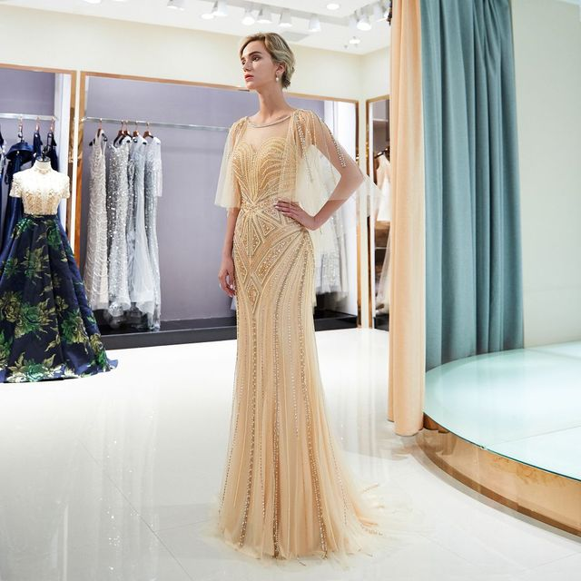 98d7bd58b62 Heavy beaded mermaid evening Dresses long 2018 Poncho cout train evening  dresses hijab Prom dress tulle formal Gown Vestido