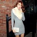 Корейский цвет в длинный толстый вязание мешок хип Платье 2016 новые зимние женские платья