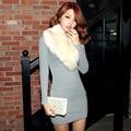 Color en el largo y grueso knitting bag hip Vestido coreano 2016 nuevo invierno vestido de las mujeres