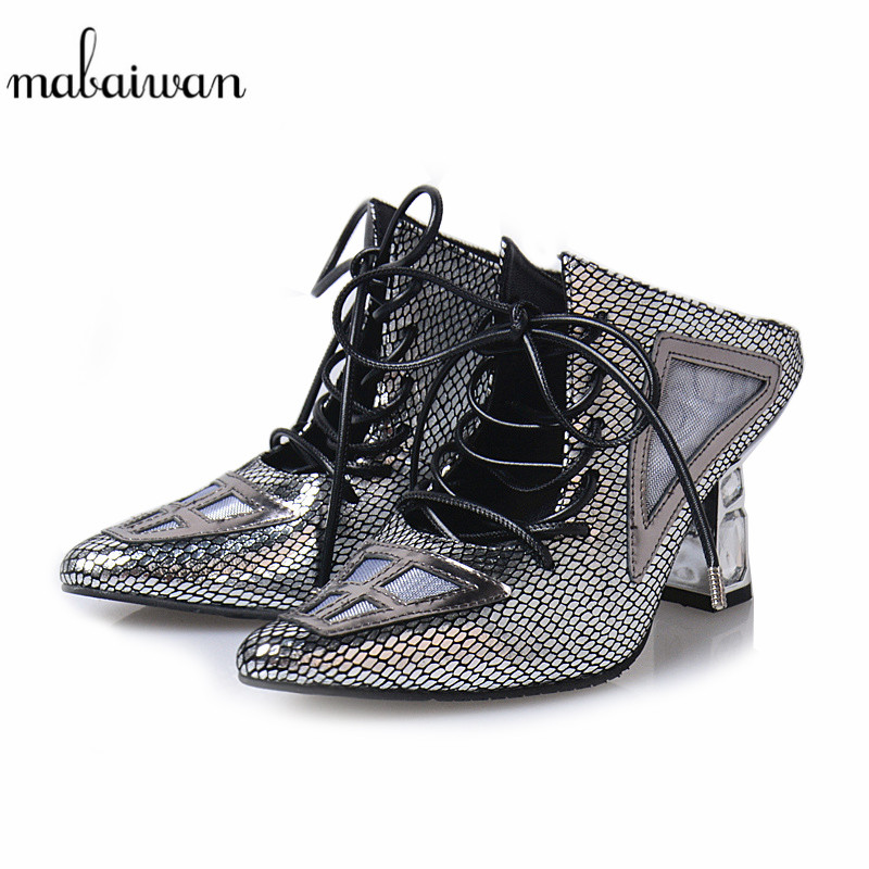 Mabaiwan Women Casual Shoes Summer Sandals Lace Up Hollow High Heel Party Shoes Flip Flops Genuine Leather Woman Gladiator Pumps mabaiwan new women genuine leather gladiator sandals flip flops rope fringe lace up flats shoes woman casual beach zapatos mujer